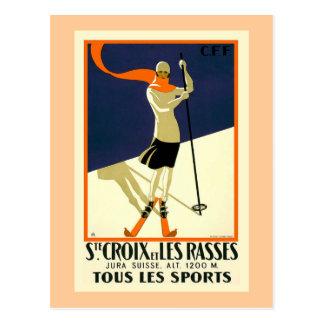 """""""Ste Croix et Les Rasses"""" Swiss Vintage Travel Postcard"""