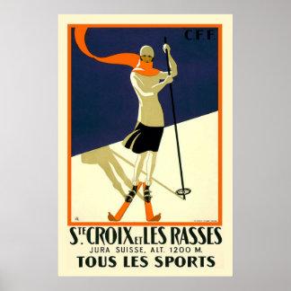 Ste Croix et Les Rasses Swiss Vintage Travel Poster