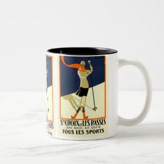 """""""Ste Croix et Les Rasses"""" Swiss Vintage Travel Two-Tone Coffee Mug"""