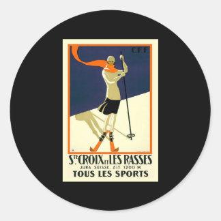Ste Croix et les Rasses tous le Sports Classic Round Sticker