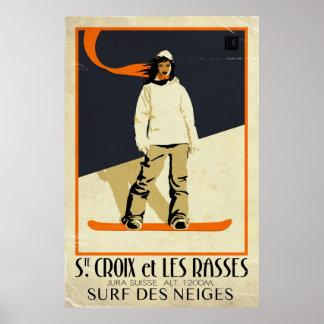Ste. Croix y Les Rasses - efecto del vintage Póster