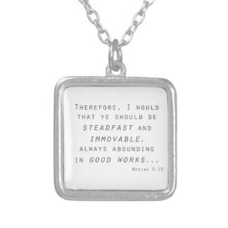 steadfast immovable mosiah lds scripture silver plated necklace
