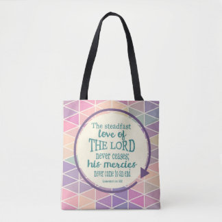 Steadfast Love of God, Scripture Triangle Pattern Tote Bag