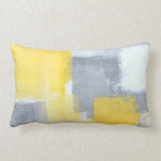 'Steady' Grey and Yellow Abstract Art Lumbar Pillow