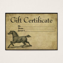 Steady Steed- Prim Gift Certificate Cards