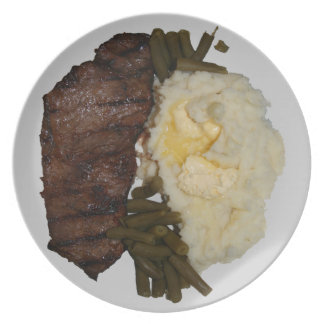 Steak and potatoes dinner plate