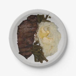 Steak and potatoes 7 inch paper plate