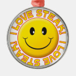 Steak Smile Round Metal Christmas Ornament