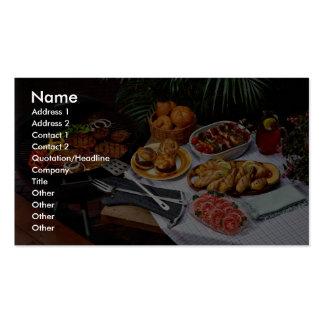 Steaks, burgers, chicken business card templates