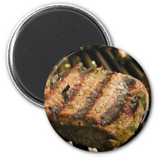 Steaks Food Dinner Grilling 2 Inch Round Magnet