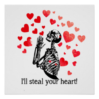 Steal your heart Funny Vintage Pirate Skeleton Poster