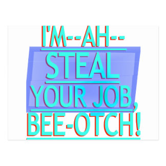 Steal Your Job Cyan & Blue Postcard