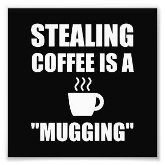 Stealing Coffee Mugging Photo Print