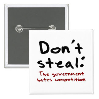 Stealing is wrong 2 inch square button