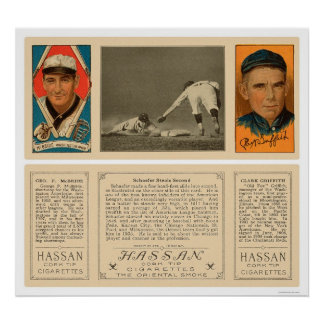 Stealing Second Senators Baseball 1912 Poster