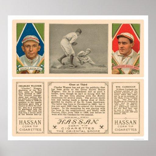 Stealing Third Red Sox Baseball 1912 Print