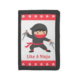 Stealth Ninja with Sai Weapons for Kids Trifold Wallets