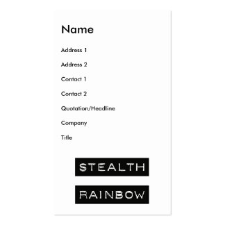 Stealth Rainbow Tag Double-Sided Standard Business Cards (Pack Of 100)