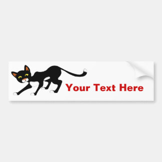 Stealthy Black & White Cat Bumper Sticker