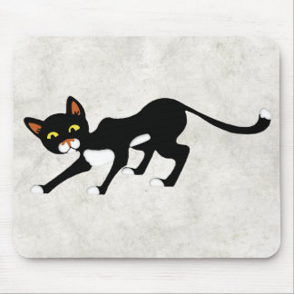 Stealthy Black & White Cat Mouse Pad