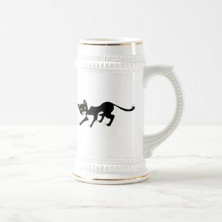 Stealthy Black & White Cat 18 Oz Beer Stein