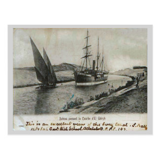Steam and sail in the Suez Canal Postcard