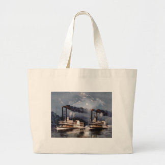 Steam Boat Racing on Mississippi River Large Tote Bag