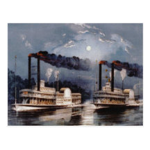 Steam Boat Racing on Mississippi River Postcard