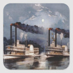 Steam Boat Racing on Mississippi River Sticker