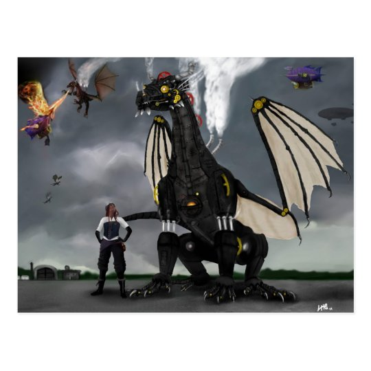 Steam Dragon Wars Postcard