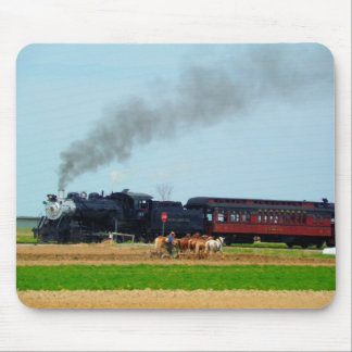 Steam Engine and Amish Farmer Mouse Pad