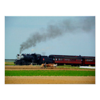 Steam Engine and Amish Farmer Poster