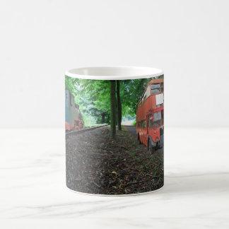 Steam engine and bus coffee mug