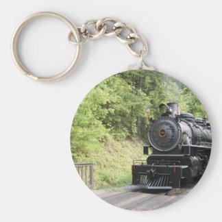 steam engine basic round button keychain