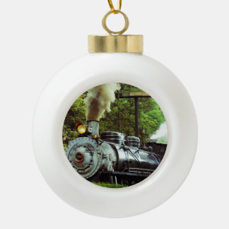 Steam Engine Ceramic Ball Christmas Ornament