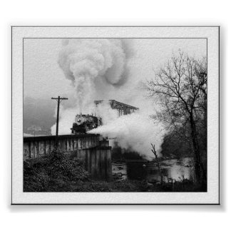 Steam Engine Coming Across A Bridge Poster
