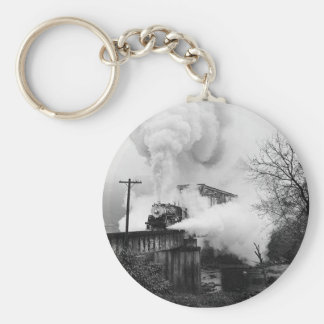 Steam Engine Crossing A Bridge Key Chain