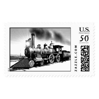 Steam Engine Digital Oil Painting Postage