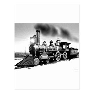 Steam Engine Digital Oil Painting Postcard