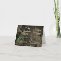 STEAM ENGINE FARM TRACTOR TRACTION ENGINE 1889 HOLIDAY CARD