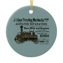 Steam Engine Farm Tractor Traction Farming Antique Ceramic Ornament