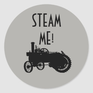 Steam Engine Farm Tractor Traction Farming Antique Classic Round Sticker