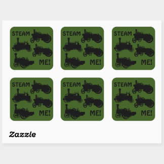 Steam Engine Farm Tractor Traction Farming Antique Square Sticker