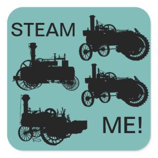 Steam Engine Farm Tractor Traction Farming Antique Square Sticker
