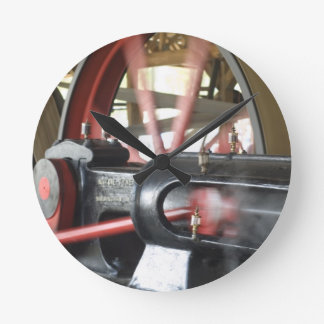 Steam Engine Piston Round Clock