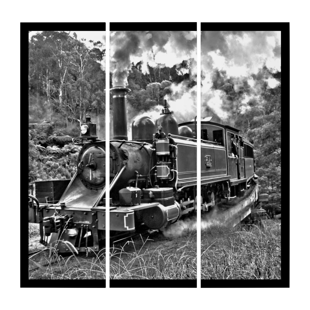 Steam Engine Puffing Black and White Photo Triptych (3) 36