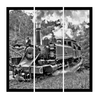 Steam Engine Puffing Black and White Photo Triptych