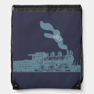 Steam engine silhouette drawstring bag