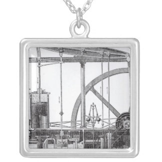 Steam Engine Silver Plated Necklace
