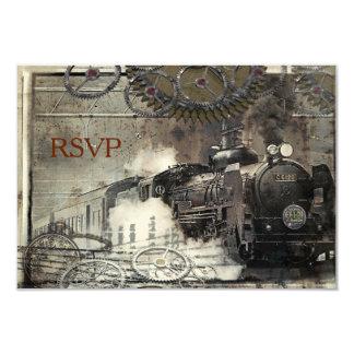 Steam Engine Steampunk RSVP 3.5x5 Paper Invitation Card